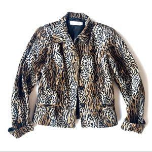 Vintage Velvet Leopard Print Jacket